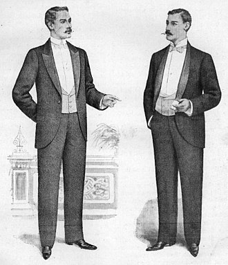 Tuxedo - Illustration of English peaked lapel and shawl collar dinner jackets, 1898.  As substitutes for tailcoats, dinner jackets were originally worn with full dress accessories
