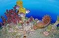 Diorama of a Pennsylanian seafloor - fish, sponges, cephalopod, gastropod, brachiopods, corals, scallop, algae (31736826148).jpg