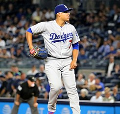 Dodgers starter Julio Urias delivers a pitch in the first inning. (29039362734).jpg