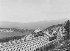 Battle of Dombås - Dombås Station, the primary objective of the German attack