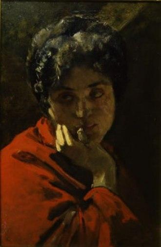 Domenico Morelli - Image: Domenico Morelli Ritratto di donna in rosso
