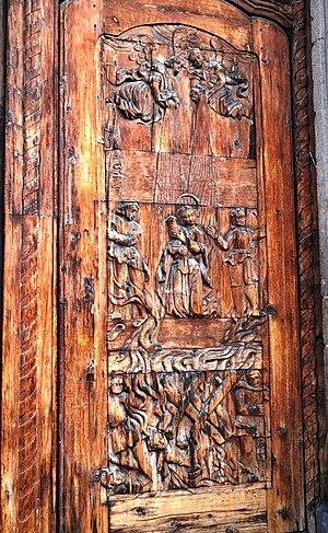 José Luis Cuevas Museum - A church door relief, depicting Agnes of God.