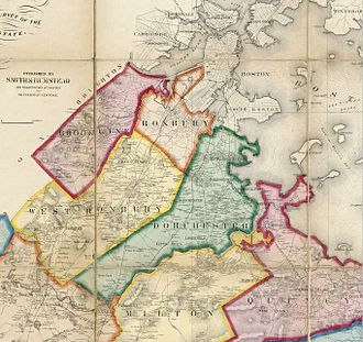 Brookline, Massachusetts - 1858 map of north-central Norfolk County, showing Brookline (upper left) along with Dorchester, Roxbury and West Roxbury, all three of which were later annexed by Boston