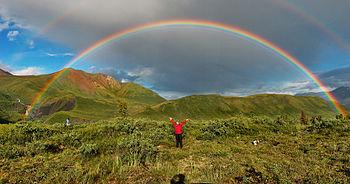 Semi-circle double rainbow (second one, barely discernible) in Wrangell-St. Elias National Park, Alaska.