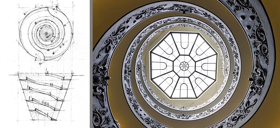 Double spiral and helicoidal flight staircase at the entrance to the Vatican Museums designed by Giuseppe Momo 1932.