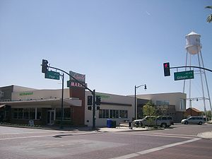 Gilbert, Arizona - The Liberty Market and the water tower in March 2009