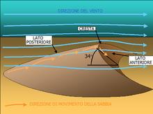 Schema generale della morfologia di una duna.