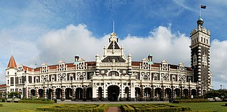 "Dunedin - Dunedin Railway Station, built in 1906, is famed for its ""gingerbread"" architecture"