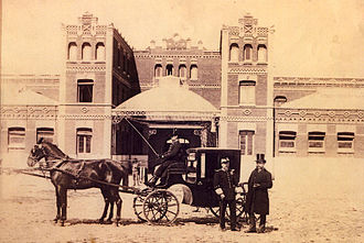 Palacio del Marqués de Alcañices - The Duke of Sesto and the Marquis of Sotomayor in front of the stables of Palacio de los Alcañices of Madrid, 19th century.