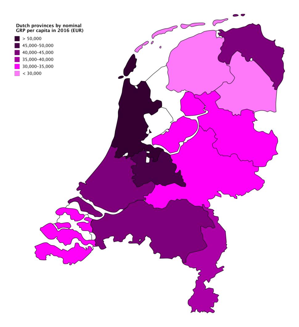 Dutch provinces by nominal GRP per capita in 2016