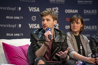 Latvia in the Eurovision Song Contest 2016 - Justs during a press meet and greet