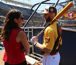 ESPN's Jessica Mendoza chats with Bryce Harper on Gatorade All-Star Workout Day. (28377246300).jpg