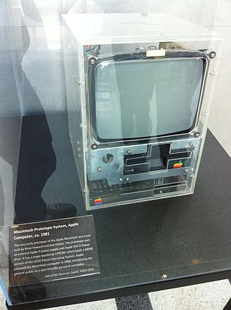 Steve Jobs - A prototype of the original Macintosh from 1981 (at the Computer History Museum)