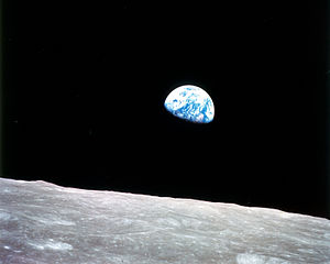 Earthrise on moon.