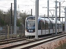 Edinburgh tram heading for Murrayfield (geograph 3902704).jpg