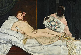 Mule (shoe) - Manet's Olympia. The subject is wearing a pair of mules.