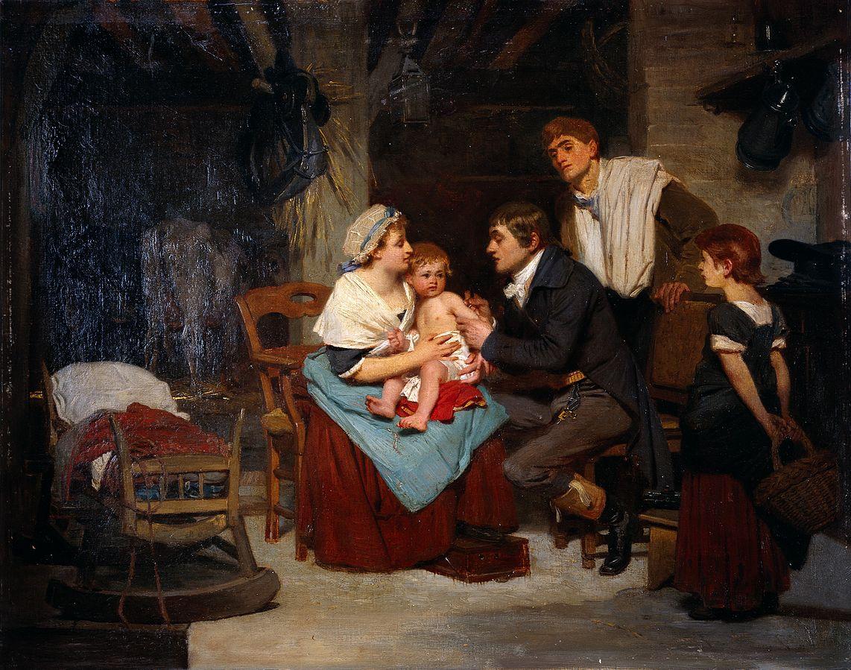 Едвард Дженер вакцинирует мальчика. Эрнест Геллимахер. 1884