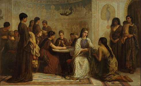 Edwin Long - A Dorcas meeting in the 6th century - Google Art Project.jpg