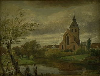 St. Canute's Cathedral - St. Canute's Cathedral on a painting by Dankvart Dreyer from c. 1844