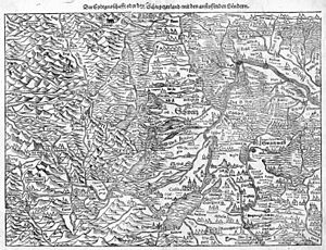 Name of Switzerland - The 1550 map of Switzerland by Sebastian Münster has the title Die Eydtgnoschafft oder das Schwytzerland mit den anstossenden Ländern, treating the terms Eidgenossenschaft and Switzerland as synonyms; in addition, the territory of the Confederacy is labelled Schweitz in the map (while the settlement is labelled Switz).