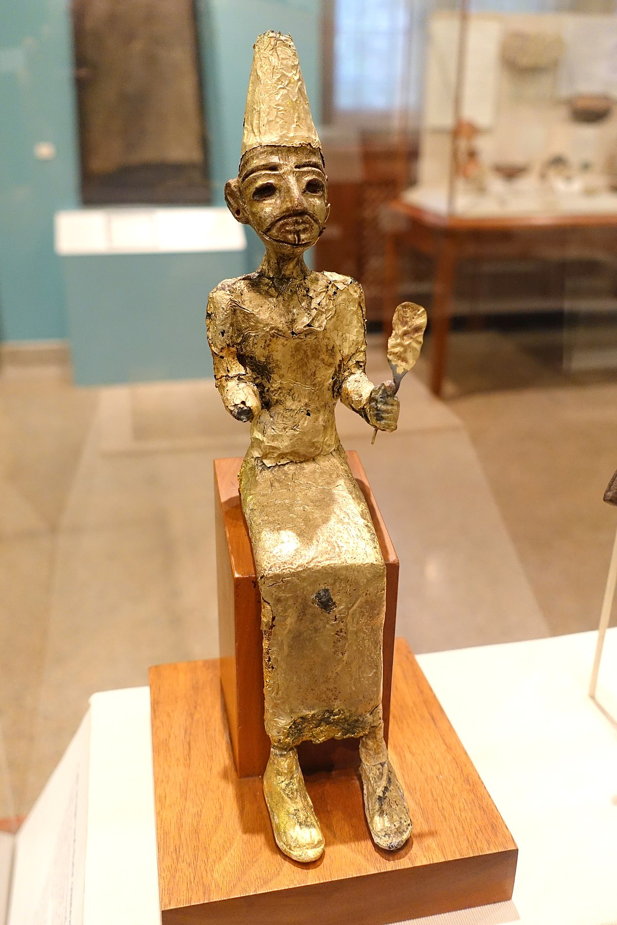 El, the Canaanite creator deity, Megiddo, Stratum VII, Late Bronze II, 1400-1200 BC, bronze with gold leaf - Oriental Institute Museum, University of Chicago - DSC07734.JPG