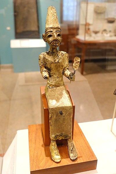 File:El, the Canaanite creator deity, Megiddo, Stratum VII, Late Bronze II, 1400-1200 BC, bronze with gold leaf - Oriental Institute Museum, University of Chicago - DSC07734.JPG