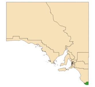 Electoral district of Mount Gambier - Electoral district of Mount Gambier (green) in South Australia