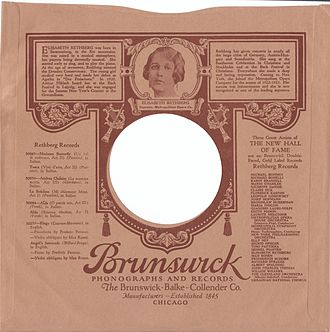 Elisabeth Rethberg - Scan of a 78 rpm record paper sleeve.