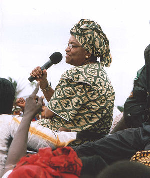 Ellen Johnson Sirleaf - Sirleaf campaigning in Monrovia in 2005, shortly before she was elected.