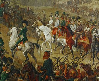 Minor campaigns of 1815 - Emperor Francis I of Austria and his Chancellor Prince Clemens Metternich crossing the Vosges Mountains on 2 July 1815 followed by other dignitaries and surrounded by Seventh Coalition soldiers.