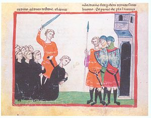 Conradin - Execution of Conradin, last Staufer king of Sicily, following the battle of Tagliacozzo in 1268, Giovanni Villani: Nuova Cronica, 14th century