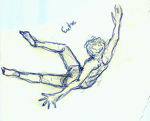 English: Drawing of a falling/floating man