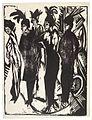 Ernst Ludwig Kirchner Fünf Kokotten, Holzschnitt, Berlin 1914.jpg