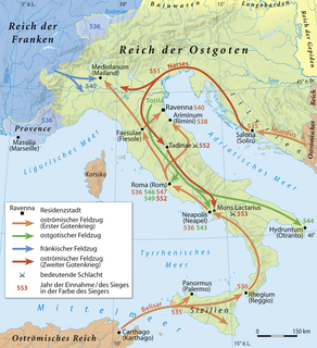 Gothic War (535–554) A war between the Byzantine Empire and the Ostrogothic Kingdom of Italy