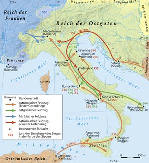 Gothic War (535–554) - Image: Erster und Zweiter Gotenkrieg