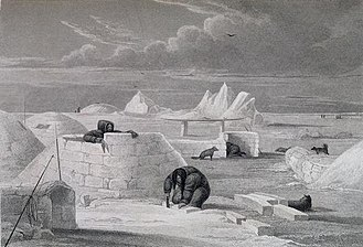 Eskimo - Inuit building an igloo, by George Francis Lyon, 1824
