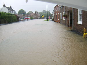 Etton, East Riding of Yorkshire - Main Street, flooded in June 2007