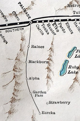 Eureka and Palisade Railroad - Route in 1931