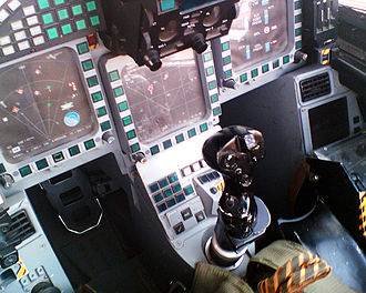 Centre stick - A fly-by-wire centre stick in a Eurofighter Typhoon cockpit.
