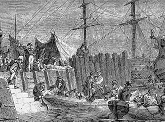 Walcheren Campaign - Illness-stricken British troops evacuating the island of Walcheren on 30 August.