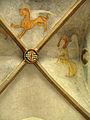 Evangelische Kirche in Teningen, gotischer Chor mit Kreuzrippengewölbe und Wappen und Malereien.jpg