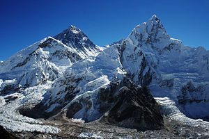 Nuptse - Nubtse on the right, Everest to the left (view from the west looking east)