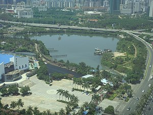 Evergreen Park (Haikou) - Image: Evergreen Park lagoon 01