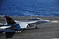 F-18F of VFA-11 is lands on USS Theodore Roosevelt (CVN-71) in October 2014.JPG