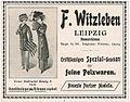 F. Witzleben, Leipzig, Spezial-Geschäft für Pelzwaren, Anzeige 1910.jpg