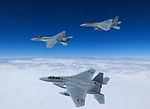 FA-18E of VFA-27 in flight with JASDF F-15 Eagles in February 2015.JPG