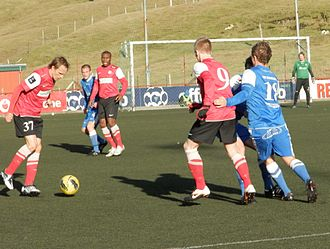 B68 Toftir - Christian Høgni Jacobsen and other B68 Toftir players against FC Suðuroy in September 2012.