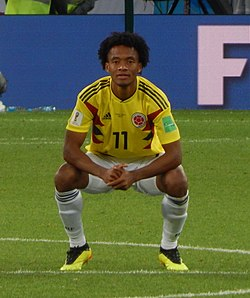 FWC 2018 - Round of 16 - COL v ENG - Photo 133 - Juan Cuadrado (cropped).jpg