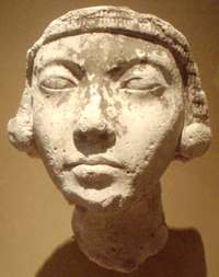 A plaster study of a young woman wearing large earings, generally identified as Kiya. Currently on display at the Metropolitan Museum of Art, New York City.