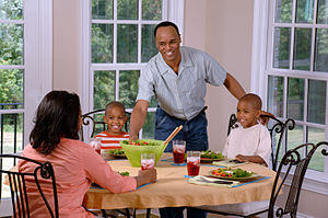 Social class differences in food consumption - A family eating a meal